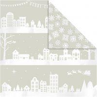Designpapper, hus och snöflingor, 30,5x30,5 cm, 180 g, 3 ark/ 1 förp.