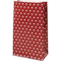 Papperspåsar, trumma, H: 21 cm, stl. 6x12 cm, 80 g, röd, vit, 8 st./ 1 förp.