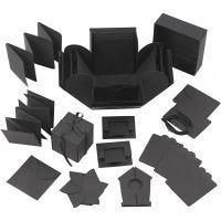Exploding Box, stl. 7x7x7,5+12x12x12 cm, svart, 1 st.