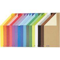 Färgad kartong, A4, 210x297 mm, 100 g, 16 mix. ark/ 1 förp.