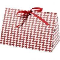 Askar, harlekin mönster, stl. 15x7x8 cm, 250 g, röd, vit, 3 st./ 1 förp.