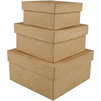 Kvadratiska pappaskar, H: 5+6+7,5 cm, stl. 10+12,5+15 cm, 3 st./ 1 set