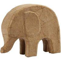 Elefant av papier-maché, H: 14 cm, L: 17 cm, 1 st.