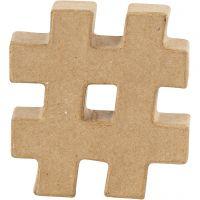Pappsymbol, #, H: 10 cm, tjocklek 1,7 cm, 1 st.