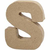 Pappbokstav, S, H: 10 cm, B: 8 cm, tjocklek 1,7 cm, 1 st.