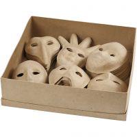 Masker av papier-maché, H: 12-21 cm, 60 st./ 1 förp.