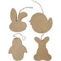 Påskdekorationer, kaninhuvud, kyckling, kyckling i ägg och hare, H: 10 cm, 4 st./ 1 förp.