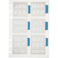 Stencil, månader, 12,5x17,5 cm, 1 ark