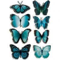 3D Stickers, fjäril, stl. 20-35 mm, blå, 8 st./ 1 förp.