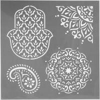 Stencil, etniska motiv, stl. 30,5x30,5 cm, tjocklek 0,31 mm, 1 ark