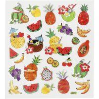 Stickers, exotiska frukter, 15x16,5 cm, 1 ark