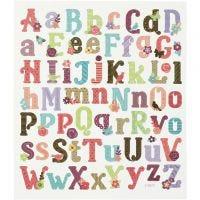 Stickers, alfabetet, 15x16,5 cm, 1 ark