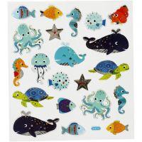 Stickers, havets djur, 15x16,5 cm, 1 ark