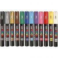 Posca Marker , nr. PC-1M, spets 0,7 mm, mixade färger, 12 st./ 1 förp.