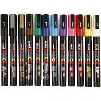 Posca Marker , nr. PC-3M, spets 0,9-1,3 mm, mixade färger, 12 st./ 1 förp.