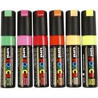Posca Marker , nr. PC-8K, spets 8 mm, mixade färger, 6 st./ 1 förp.