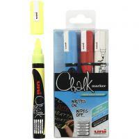 Chalk Marker, spets 1,8-2,5 mm, blå, röd, vit, gul, 4 st./ 1 förp.
