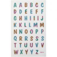 Glitterstickers, bokstäver, 10x16 cm, 1 ark