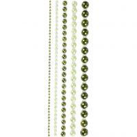 Rhinestones, stl. 2-8 mm, grön, 140 st./ 1 förp.