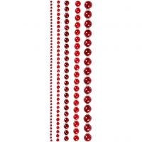 Rhinestones, stl. 2-8 mm, röd, 140 st./ 1 förp.