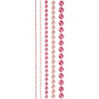 Rhinestones, stl. 2-8 mm, rosa, 140 st./ 1 förp.