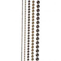 Rhinestones, stl. 2-8 mm, brun, 140 st./ 1 förp.