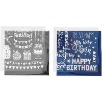 Dekorationsfolie och limark med motiv, födelsedag, 15x15 cm, mörkblå, silver, 2x2 ark/ 1 förp.
