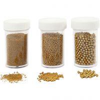 Miniglaskulor, stl. 0,6-0,8+1,5-2+3 mm, guld, 3x45 g/ 1 förp.