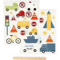 Rub-on stickers, transport, 12,2x15,3 cm, 1 förp.