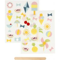 Rub-on stickers, semestertid, 12,2x15,3 cm, 1 förp.