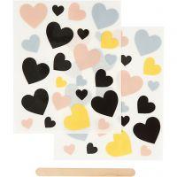 Rub-on stickers, hjärtan, 12,2x15,3 cm, 1 förp.