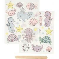 Rub-on stickers, havet, 12,2x15,3 cm, 1 förp.