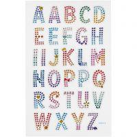 Diamond stickers, alfabetet, 10x16 cm, 1 ark