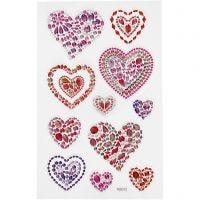 Diamond stickers, hjärtan, 10x16 cm, 1 ark