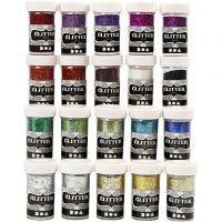 Glitter, mixade färger, 20x20 g/ 1 förp.