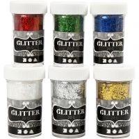 Fiberglitter, metallicfärger, 6x20 g/ 1 förp.