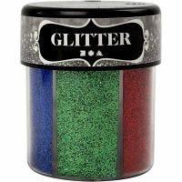 Glitter, mixade färger, 6x13 g/ 1 burk