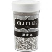 Glitter, stl. 1-3 mm, silver, 30 g/ 1 burk