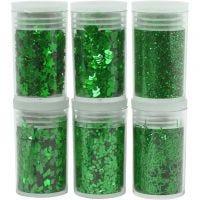 Glitter och paljetter, grön, 6x5 g/ 1 förp.