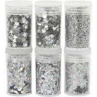 Glitter och paljetter, silver, 6x5 g/ 1 förp.