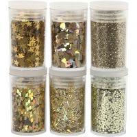 Glitter och paljetter, guld, 6x5 g/ 1 förp.