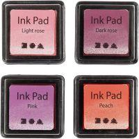 Stämpeldyna, H: 2 cm, stl. 3,5x3,5 cm, persika, rosa, ljusrosa, mörkrosa, 4 st./ 1 förp.