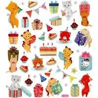Stickers, födelsedagskatter, 15x16,5 cm, 1 ark