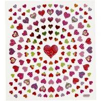 Stickers, små hjärtan, 15x16,5 cm, 1 ark