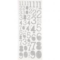 Glitterstickers, siffror, 10x24 cm, silver, 2 ark/ 1 förp.