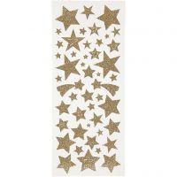 Glitterstickers, stjärnor, 10x24 cm, guld, 2 ark/ 1 förp.