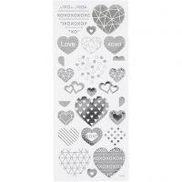 Stickers, hjärtan, 10x24 cm, silver, 1 ark