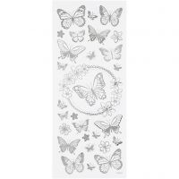 Stickers, fjäril, 10x24 cm, silver, 1 ark