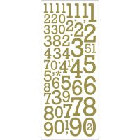 Glitterstickers, siffror, 10x24 cm, guld, 2 ark/ 1 förp.