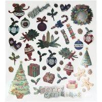 Stickers, gammeldags jul, 15x16,5 cm, 1 ark